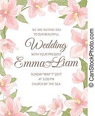 Wedding invitation magnolia sakura border frame - Wedding...