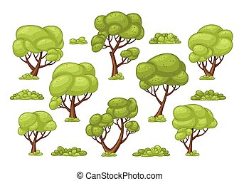 Set of different trees and bushes