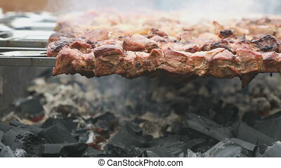 Meat are prepared on the metal skewers on a grill - Red raw...