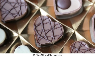 Rotating Box of Heart Shaped Chocolates - Box of heart...