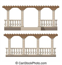 Set of vector pergola front view , garden elements