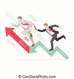 Business growth concepts. Two businessman passing the baton...
