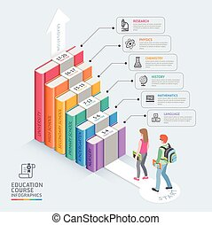 Books step education timeline. Two students walking up to the stairs to success. Vector illustration. Can be used for workflow layout, banner, diagram, number options, step up options, web design and infographics.