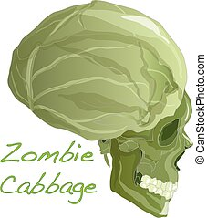Zombie cabbage head vector isolated