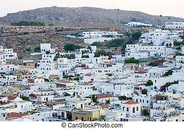 Roofs of Lindos town, Rhodes, Greece