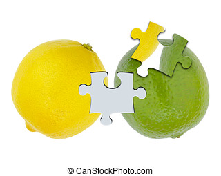 Lemon and lime jigsaw cutout - Lemon and lime citrus fruits...