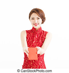 happy woman wear cheongsam and giving Red envelopes