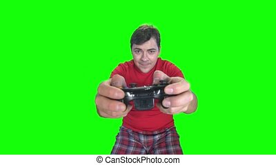 Player and gamepad. Green screen - Player and gamepad, hands...