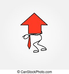 Cartoon icon of sketch business man stick figure with big red chart arrow
