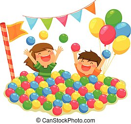 kids in a ball pit - two kids playing in a ball pit with a...