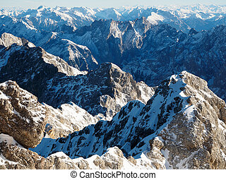 View from Zugspitze, the highest mountain in Germany.