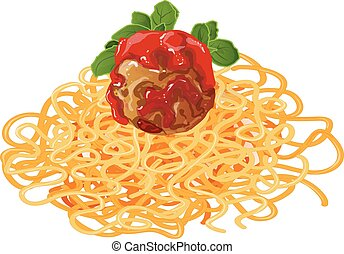 meatball in tomato sauce vector illustration