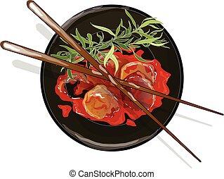 meatball in tomato sauce vector illustration