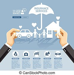 Insurance policy services conceptual design. Hand holding a...