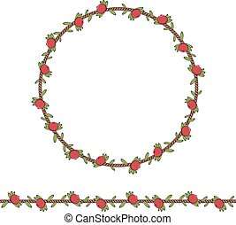 Seamless pattern and frame of the cord with cranberries and leaves