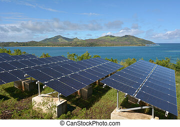 Solar PV modules on remote Island in Fiji. Fiji Sustainable...