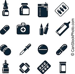 Medication pharmacology pills, tablets, medicine bottles...