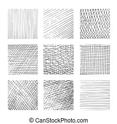 Hatching textures, cross lines, canvas pattern background...