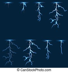 Lightning, thunderbolt fx animation frames sprite vector...