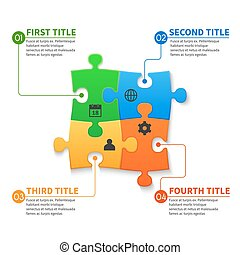 Jigsaw puzzle pieces vector infographic business concept