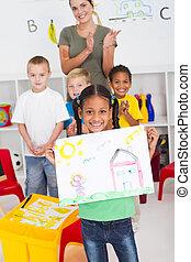 preescolar, africano, norteamericano, niña