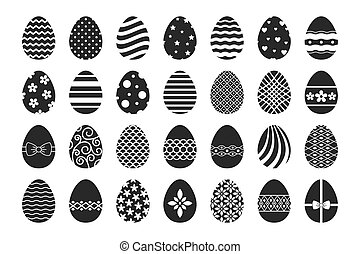 Vector easter egg icons. Happy paschal ostern eggs with...