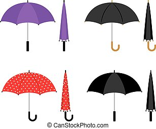 Umbrellas colorful icons set - Umbrellas folded and opened...