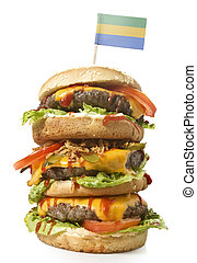 Tasty XXL Hamburger with the flag of Gabon.(series) - Fresh...
