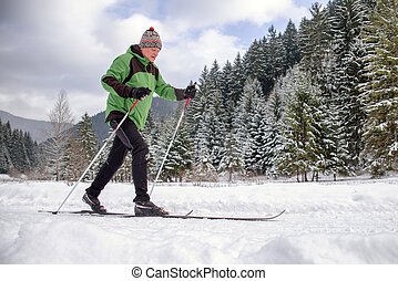 Active senior. Cross-country skiing