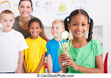 african american girl with trophy - african american girl...