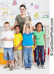 preschool class winning a trophy - happy preschool class...