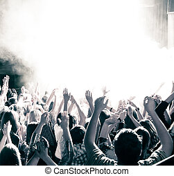 Concert crowd, hand up, toned
