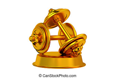 Dumbbell Golden Trophy with white background