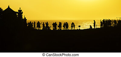 people silhouette with sunset, nature outdoor background