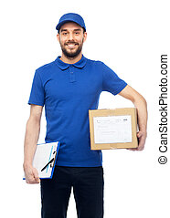 happy delivery man with parcel box and clipboard - delivery...