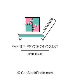 Family psychologist line icon - Vector thin line icon, a...