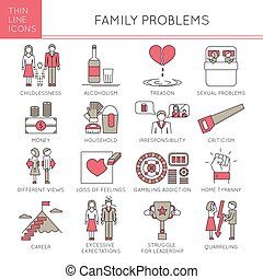 Family Problems set - Thin line icons set, vector...