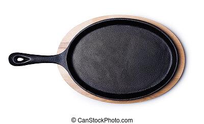 iron wok isolated on white background