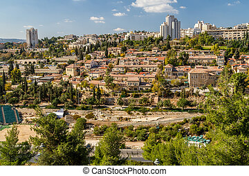 Historic neighborhood Yemin Moshe in Jerusalem, Israel
