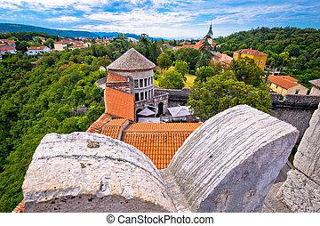 Trsat sanctuary in Rijeka view, Kvarner bay of Croatia