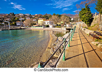 Ika village and Lungomare walkway view, Opatija riviera of...