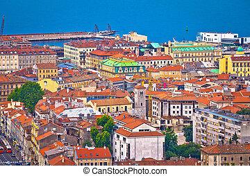 City of Rijeka waterfront rooftops view, Kvarner bay of...