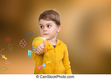 Portrait of beautiful little boy giving you thumbs up with...