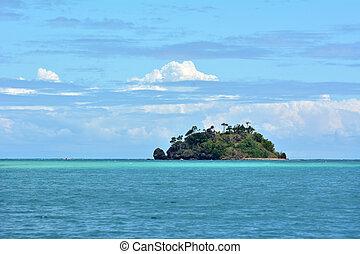 Seascape of a tropical remote island in the Yasawa Islands group, Fiji