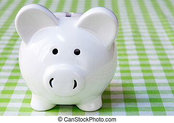 Close-up of piggy bank on the table