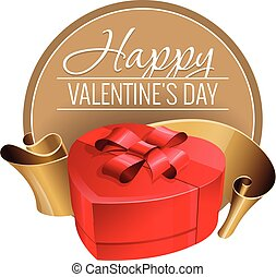 Emblem. Congratulations to the St. Valentine's Day. Red box...