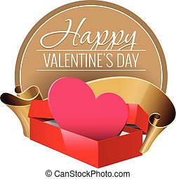 Emblem. Congratulations to the St. Valentine's Day. Open red...