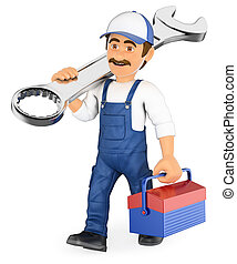 3D Mechanic walking with a wrench and a toolbox - 3d working...