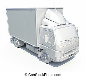 3d White Delivery Truck Icon - 3d render: 3d White Delivery...