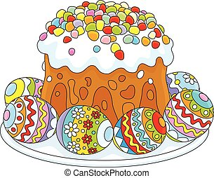 Easter eggs and a cake - Vector illustration of a festively...